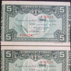 Billetes españoles: BANCO DE ESPAÑA (BILBAO).5 PESETAS.1 ENERO 1937. PAREJA CORRELATIVA. SC-. Lote 130411598