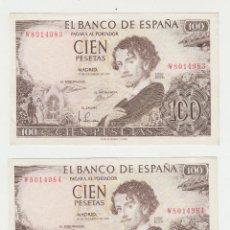 Billetes españoles: 100 PESETAS- 19 DE NOVIEMBRE DE 1965-PAREJA CORRELATIVA-SC. Lote 130497666