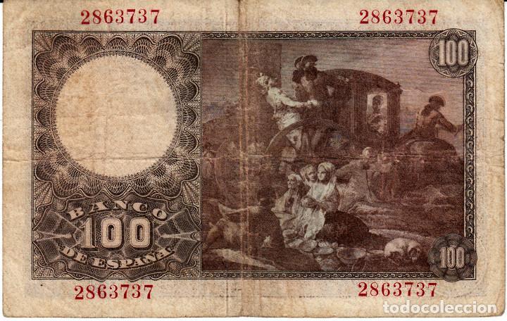 Billetes españoles: BILLETE BANCO DE ESPAÑA 100 PESETAS 1948 SIN SERIE - Foto 2 - 130596474