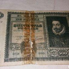 Billetes españoles: BILLETE DE 500 PESETAS EMISIÓN DE ENERO DEL 40 JUAN DE AUSTRIA. Lote 131498991