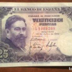 Billetes españoles: BILLETE 25 PESETAS DE 1954 - SC-. Lote 131738574