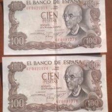 Billetes españoles: PAREJA BILLETES 100 PESETAS DE 1970 CORRELATIVOS SERIE 6F . Lote 131739002