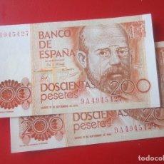 Billetes españoles: 2 BILLETES DE 200 PESETAS. 1980. REINADO DE J. CARLOS I. SIN CIRCULAR SERIE ESPECIAL 9A. Lote 132106194