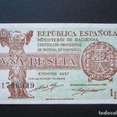 Billetes españoles: 1 PESETA DE 1937 REPÚBLICA SERIE B-949 PLANCHA. Lote 273215168