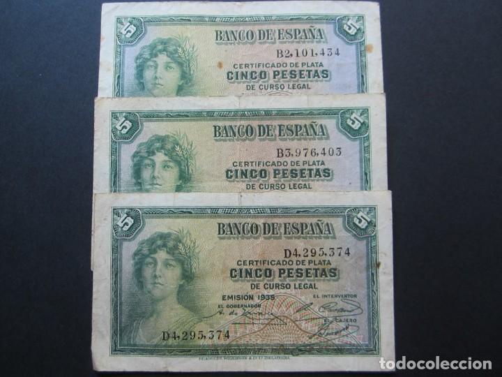 5 PESETAS DE 1935 (3 BILLETES) VARIAS SERIES BIEN CONSERVADOS (Numismática - Notafilia - Billetes Españoles)