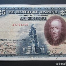 Billetes españoles: 25 PESETAS DE 1928 SERIE A-927. Lote 132117854
