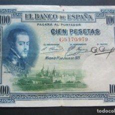Billetes españoles: 100 PESETAS DE 1925 SERIE C-979 CON RESELLO EN SECO (ESTADO ESPAÑOL). Lote 132121994