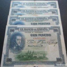 Billetes españoles: 100 PESETAS DE 1925 (2 BILLETES CON RESELLO EN SECO) SIN SERIE-975 Y SERIE A-887. Lote 132122122
