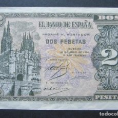 Billetes españoles: 2 PESETAS DE ABRIL DE 1938 SERIE D-746 PLANCHA. Lote 132183898