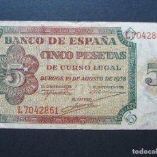 Billetes españoles: 5 PESETAS DE 1938 SERIE L-861 BIEN CONSERVADO. Lote 132184230