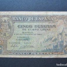 Billetes españoles: 5 PESETAS DE 1940 SERIE B-420 BIEN CONSERVADO. Lote 132184334