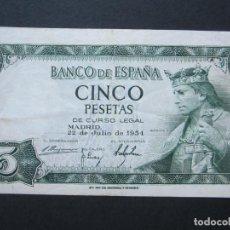 Billetes españoles: 5 PESETAS DE 1954 SERIE T-151 BIEN CONSERVADO. Lote 132184474