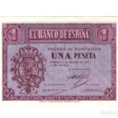 Billetes españoles: 1 PESETA DE OCTUBRE 1937 SERIE A RARÍSIMA PLANCHA DE TACO REF A. Lote 133172721