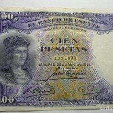 Billetes españoles: BILLETE 100 PTAS BANCO ESPAÑA -25-4-1931. Lote 133064794
