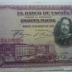 Billetes españoles: BILLETE BANCO ESPAÑA - CINCUENTA PTS- AGOSTO 1928. Lote 133065222