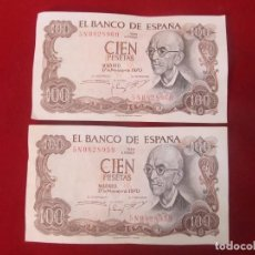 Billetes españoles: PAREJA DE BILLETES CORRELATIVOS - 100 PESETAS DE 1970. Lote 133334406