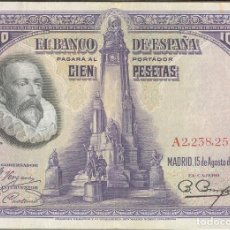 Billetes españoles: ESPAÑA - SPAIN 100 PESETAS 15-8-1928 PK 76 A. Lote 133467402