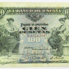 Billetes españoles: BILLETE DE 100 PESETAS DE 30 DE JUNIO DE 1906, SERIE C. LOTE 0856. Lote 133657818