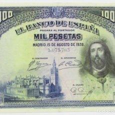 Billetes españoles: BILLETE DE 1000 PESETAS DE 15 DE AGOSTO DE 1928, SIN LETRA DE SERIE. LOTE 0858. Lote 133658874