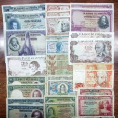 Billetes españoles: 30 BILLETES ALFONSO XIII, 2ª REPUBLICA, ESTADO ESPAÑOL Y JUAN CARLOS I. LOTE 0860. Lote 133659898
