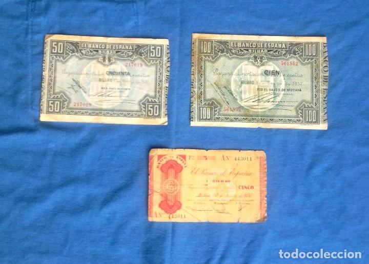 Billetes españoles: LOTE 3 BILLETES DE BILBAO. - Foto 9 - 133997786