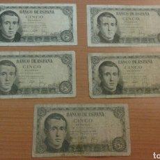 Billetes españoles: LOTE BILLETES 5 PESETAD AÑO 1951.. Lote 134062013