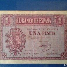 Billetes españoles: BILLETE 1 PESETA AÑO 1937. Lote 134062238