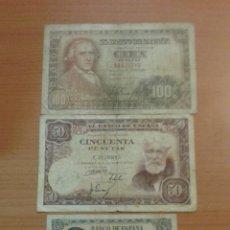 Billetes españoles: LOTE BILLETES 100/50/5 PESETAS AÑO 1951/48.. Lote 134062525