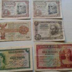 Billetes españoles: LOTE BILLETES 1/5/10 PESETAS AÑOS 1935/51/53.. Lote 134063389