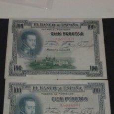 Billetes españoles: PAREJA BILLETES 100 PESETAS AÑO 1925.SERIE A.. Lote 134063687