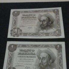 Billetes españoles: PAREJA BILLETES 1 PESETA AÑO 1951.E-H.. Lote 134063937