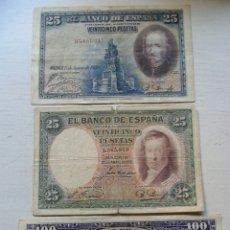 Billetes españoles: LOTE 3 BILLETES 25/100 PESETAS AÑO 1931/28.. Lote 134065015