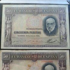Billetes españoles: PAREJA 50 PESETAS AÑO 1951.SIN SERIE.. Lote 134065270