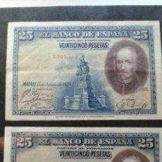 Billetes españoles: PAREJA 25 PESETAS AÑO 1928.SIN SERIE. Lote 134066598