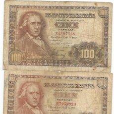 Billetes españoles: LOTE 3 BILLETES DE 100 PESETAS DE 2 DE MAYO DE 1948 FRANCISCO BAYEU. Lote 134313150