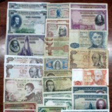 Billetes españoles: 30 BILLETES ALFONSO XIII, 2ª REPUBLICA, ESTADO ESPAÑOL Y JUAN CARLOS I. LOTE 0865. Lote 134376658