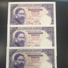 Billetes españoles: C.R MUY RARO TRIO CORRELATIVO SIN SERIE DE ISAAC ALBENIZ 1954 SIN SERIE 1954 S/C -. Lote 134786579