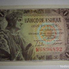 Billetes españoles: 1 PESETA. 1943. SERIE K. SIN CIRCULAR, PLANCHA.. Lote 134790382
