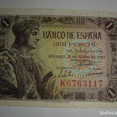Billetes españoles: 1 PESETA. 1943. SERIE K. SIN CIRCULAR, PLANCHA.. Lote 134791070