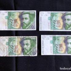 Billetes españoles: CUATRO BILLETES 1000 PESETAS 12 OCTUBRE 1992. Lote 134860282