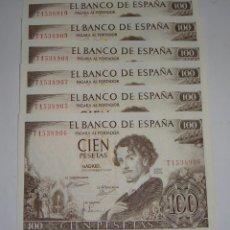 Billetes españoles: 6 BILLETES CORRELATIVOS DE 100 PESETAS. 1965. SERIE T1. JULIO ROMERO DE TORRES.. Lote 135142638