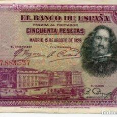 Billetes españoles: BILLETE VELAZQUEZ- 50 PESETAS 1928-. Lote 135181962