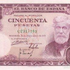 Billetes españoles: BILLETE DE 50 PESETAS DEL AÑO 1951 DE SANTIAGO RUSIÑOL SERIE C EN CALIDAD EBC . Lote 135386710