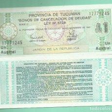 Billetes españoles: ARGENTINA. TUCUMAN. BONO CANCELACIÓN DEUDA. 1 AUSTRAL. Lote 175118455