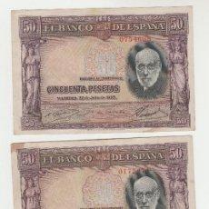 Billetes españoles: LOTE DE 3 BILLETES- 50 PESETAS- 22 DE JULIO DE 1935. Lote 135474850