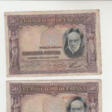 Billetes españoles: LOTE DE 3 BILLETES- 50 PESETAS- 22 DE JULIO DE 1935. Lote 135474886