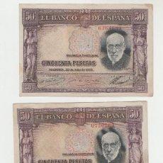 Billetes españoles: LOTE DE 3 BILLETES- 50 PESETAS- 22 DE JULIO DE 1935. Lote 135474906