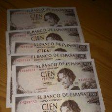 Billetes españoles: 6 BILLETES DE 100 PESETAS DE 1965 SIN CIRCULAR CORRELATIVOS. Lote 135651181