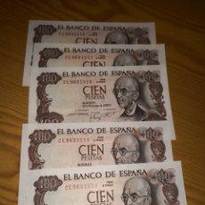 Billetes españoles: 5 BILLETES CORRELATIVOS DE 100 PESETAS DE 1970 SIN CIRCULAR. Lote 135652126