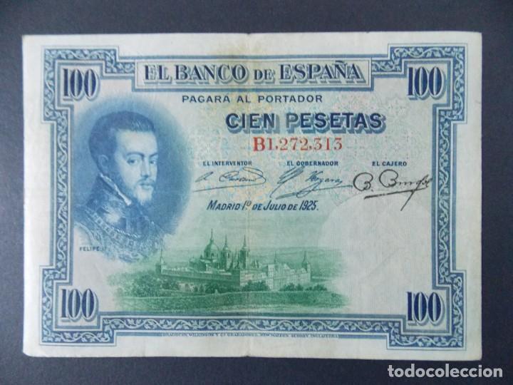 Billetes españoles: BILLETE DE 100 PESETAS 1925 CON SERIE B ( SELLO EN SECO REPUBLICA ESPAÑOLA) - CALIDAD MBC .... A127 - Foto 2 - 136291410